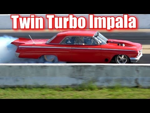 Twin Turbo Impala drag racing against Street Outlaws Mistress 2 0