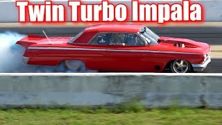 Twin Turbo Impala drag racing against Street Outlaws Mistress 2 0 thumbnail
