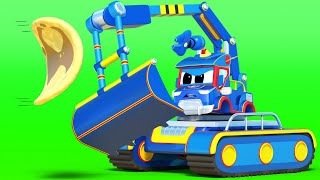 Truck videos for kids -  Super EXCAVATOR and the CRAZY ROBOT PANCAKE MAKER - Super Truck in Car City