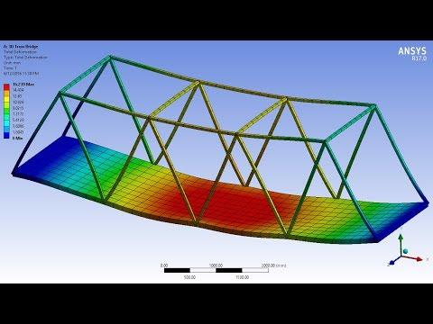 ANSYS 17.0 Tutorial - 3D Bridge Truss with Surface Body Platform