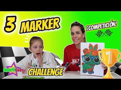 3 MARKER CHALLENGE COMPETICIÓN CON MI MADRE!! MAMÁ VS DANIELA!! Coloreando Con 3 Rotuladores Kawaii