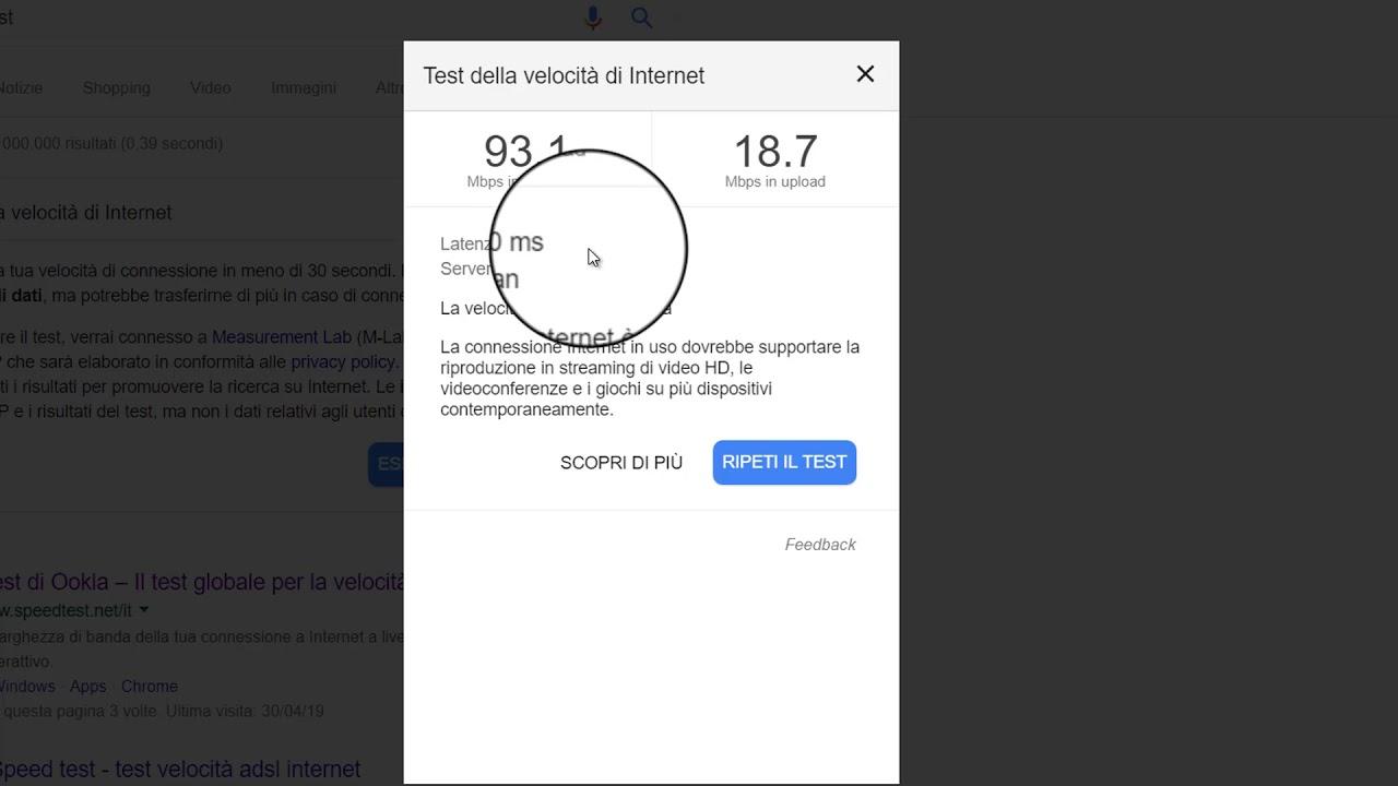 Misurare la velocità di connessione a internet da desktop e da