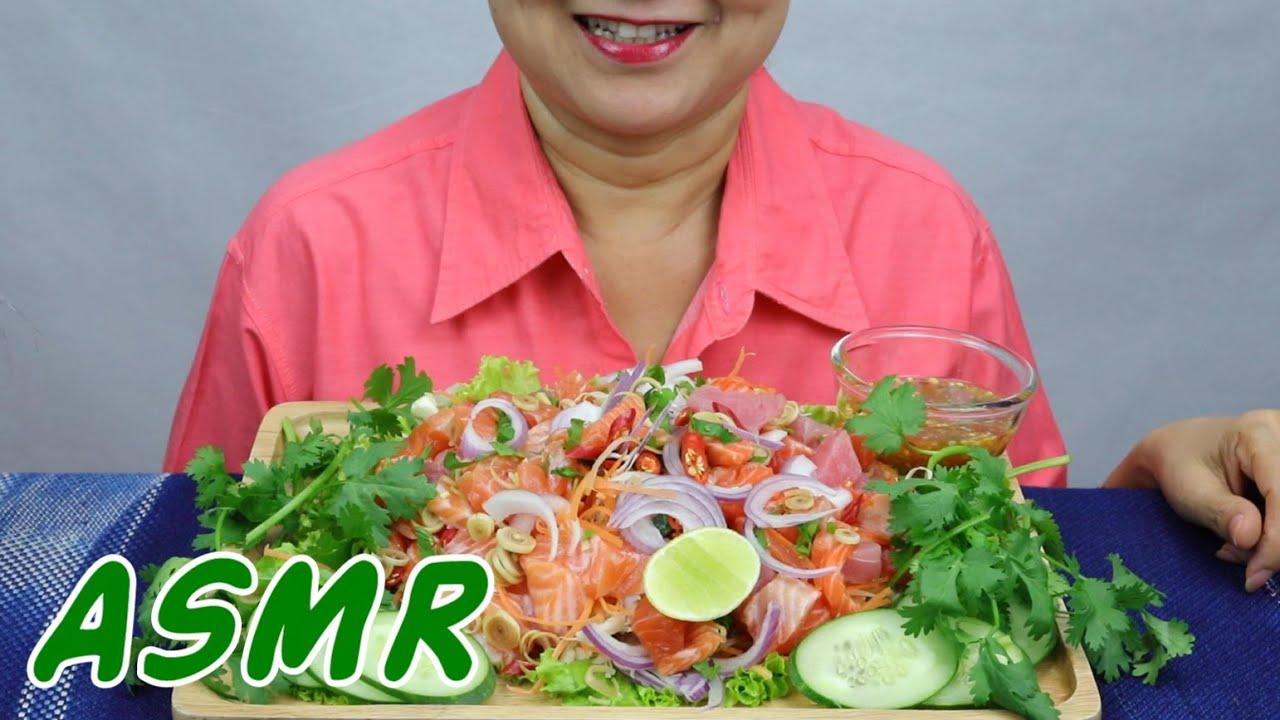 ASMR Salmon & Tuna Sashimi Salad | Eating Sounds | Light Whispers | Nana Eats