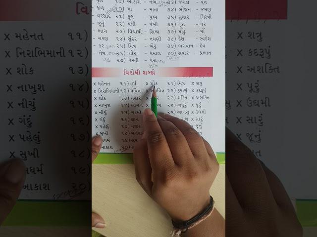Std-3, sub-Gujarati, વિરોધી શબ્દો