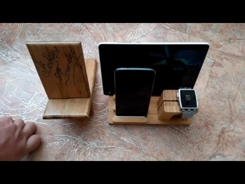 3 in 1 Wood Charging Stand Holder