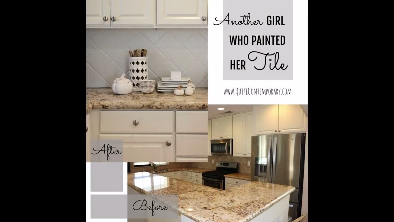 Another Girl Who Painted Her Tile   How To Paint Kitchen Tile Backsplash    DIY Kitchen Makeover