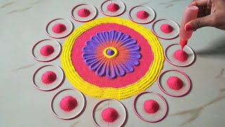 Simple rangoli design using fork l Diwali rangoli by Sangeeta