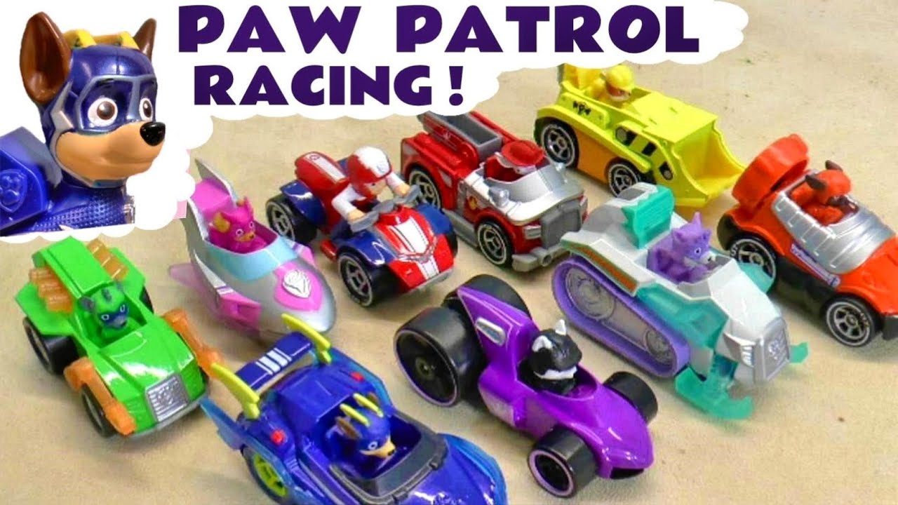 Paw Patrol Mighty Pups Racing in these Funny Funlings Race Videos for Kids with Lightning McQueen