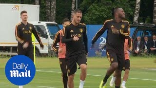 Hazard and rest of the Belgium squad train ahead of semi-final - Daily Mail