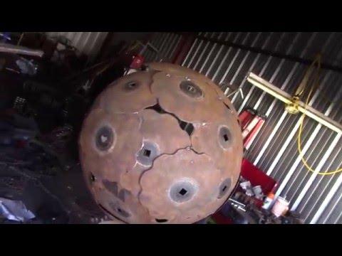 Metal Garden Sphere Sculpture Upcycled Salvage