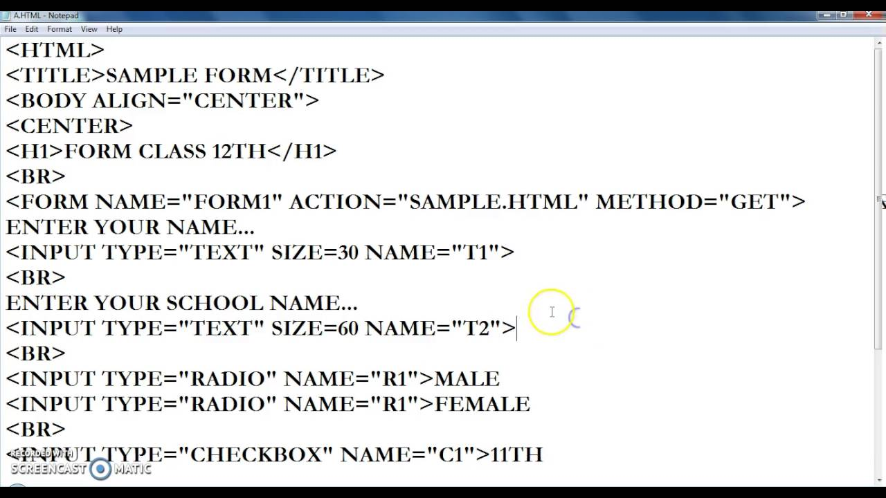 Creating Forms In HTML   Video Lecture   Class XII   Web ...