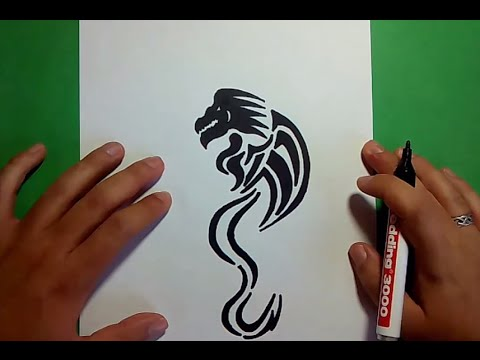 Como dibujar un dragon tribal paso a paso How to draw a