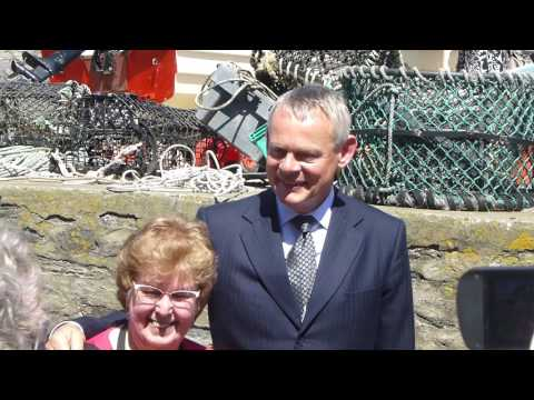 Martin Clunes meets  during Doc Martin Filming in 2017 for Series 8, Port Isaac