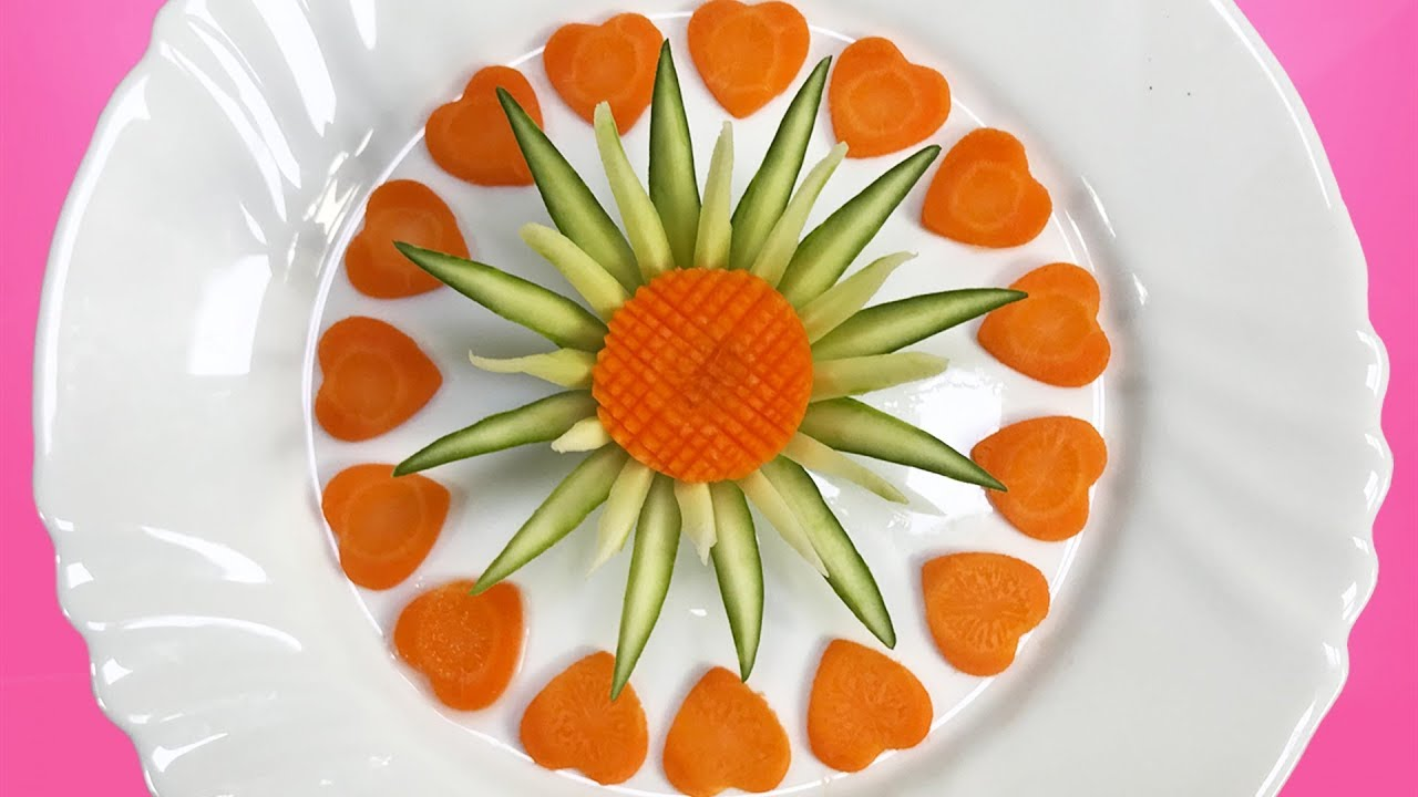 Lovely Cucumber and Carrot Flower Carving Garnish - How to make ...