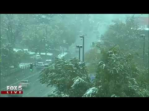 It is snowing in Denver!