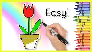 draw easy card mother tulip