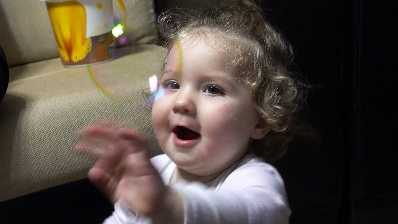 Cute baby Catching Bubbles For The First Time - Baby Lile