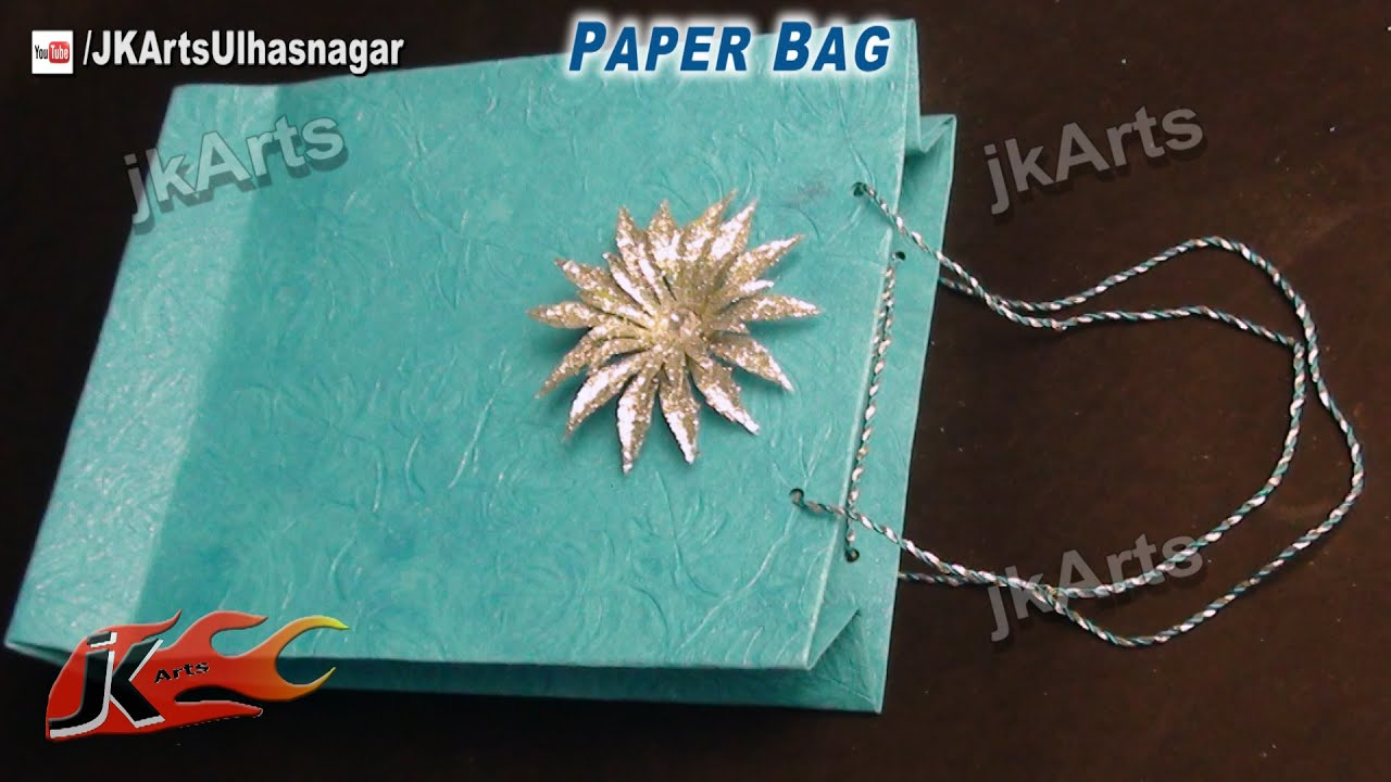How to make paper bag easy craft jk arts 510 youtube for Art and craft with paper easy