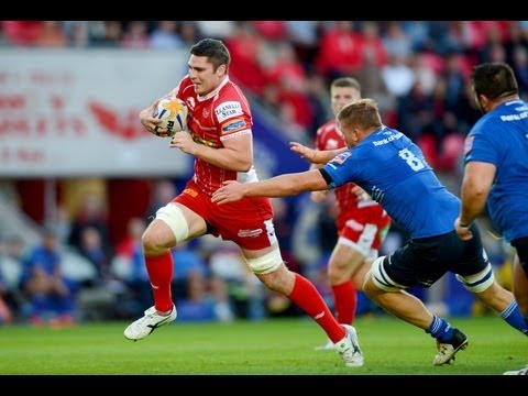Rob McCusker takes great angle for 1st Try Scarlets v Leinster 6th Sept 2013