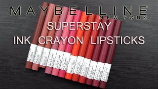 MAYBELLINE SUPERSTAY LIP CRAYONS: Lip Swatches & Review