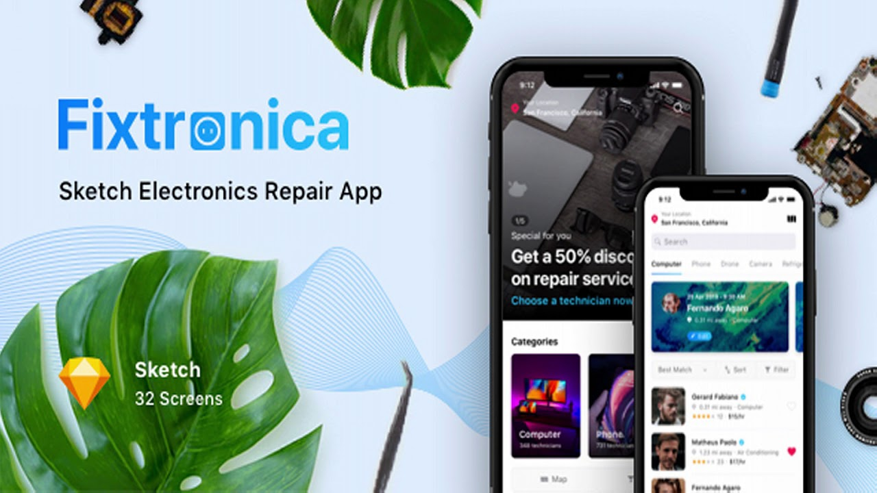 e016d503231fb1 Fixtronica - Sketch Electronics Repair App | Themeforest Website Templates  and Themes