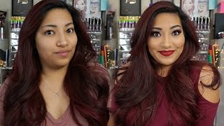 Holiday Makeup With Red Bold Lips & Hair Tutorial