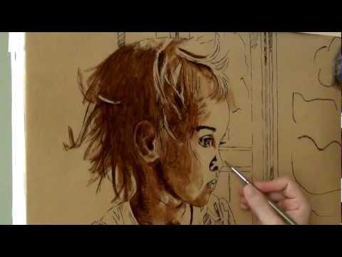 painting the portrait Rainy Day, part 1