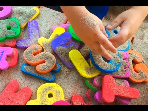 ABC Song Find the abc letters & numbers in the sand Learn the alphabet & 123 Lets play kids
