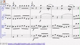 Wolfgang Amadeus Mozart's Eine Kleine Nacthmusik sheet music for string quartet - Video Score