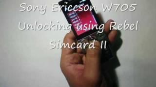 rebel sim ii unlocking sony Ericcson w705 to use on any network