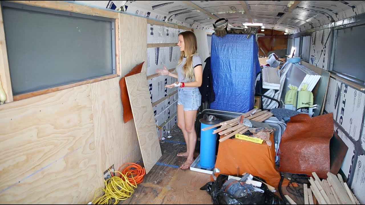 Bus Conversion Tiny House 27 Plywood Walls And Electrical