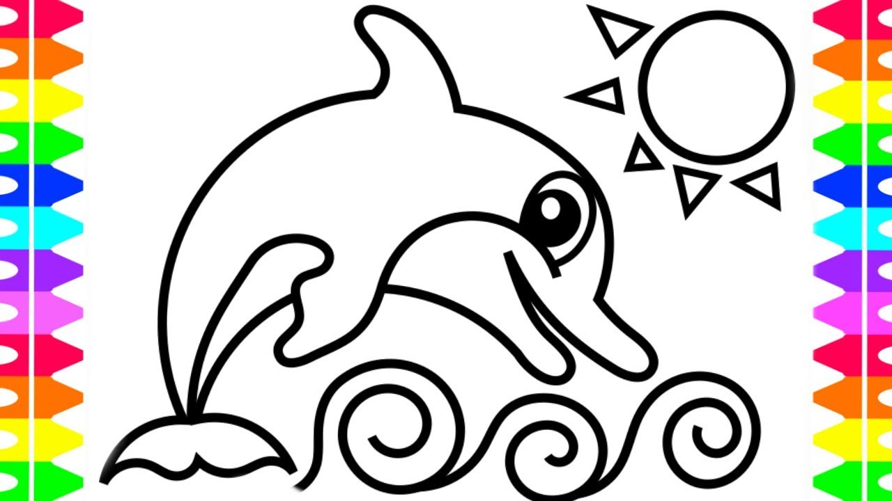 FUN Coloring Pages for Kids| Cartoon Dolphin Jumping Out of Water ...