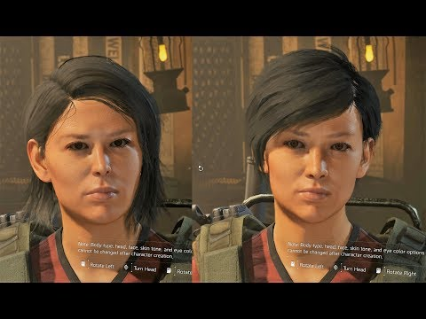 The Division 2 Female Customization Default Heads Before And After