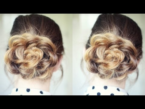 Quick and Easy Flower Bun Hairstyle | School Hairstyles | Braidsandstyles12