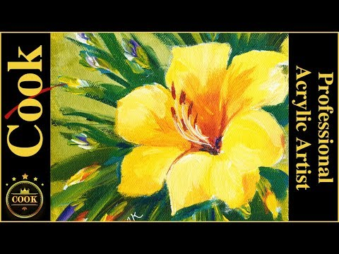 Busy Artist&39;s Yellow Daylily  Acrylic Painting Tutorial for Beginners