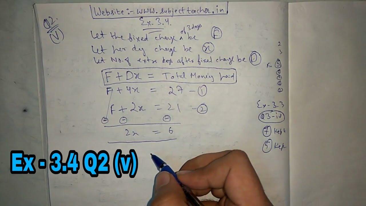 Chapter 3 Exercise 3 4 Q2 (v) class 10 maths || NCERT