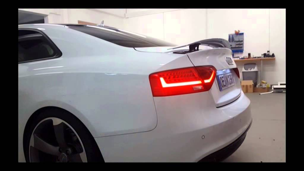 audi rs5 spoiler heckklappe nachr sten youtube. Black Bedroom Furniture Sets. Home Design Ideas