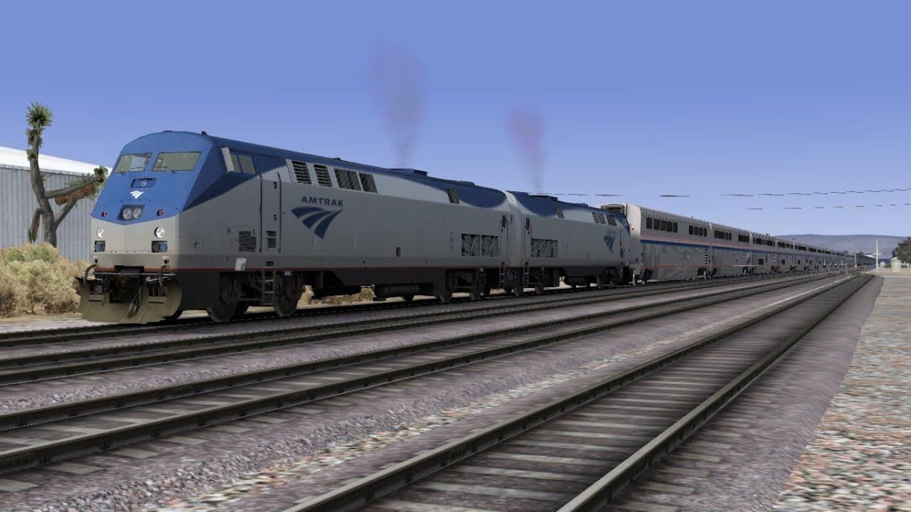 Train Simulator 2014 HD EXCLUSIVE: Amtrak P42DC 44 Car Auto Train 70 MPH  Run On the Cajon Pass Sub