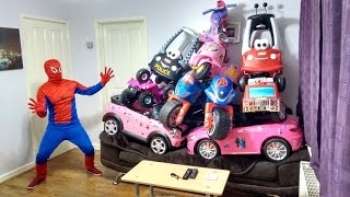 10 Awesome Ride On Cars on Sofa | Spiderman Surprise | POWER WHEELS FUN