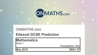 2018 Predicted Maths GCSE Paper 1 Edexcel (Foundation Paper 1) Non Calculator Exam 1MA1/1F