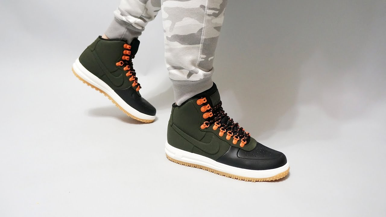 Nike Lunar Force 1 Duckboot  18 Sequoia Sail on feet - YouTube 00445cf64ba00