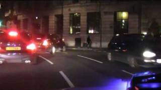 Blue Light Run DRIVERS VIEW, from parliament square to KingsCross LONDON