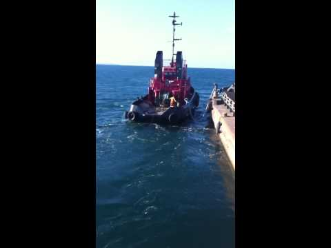 Setting up tandem tow  tug and barges