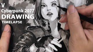 V from Cyberpunk 2077, Korean ink wash