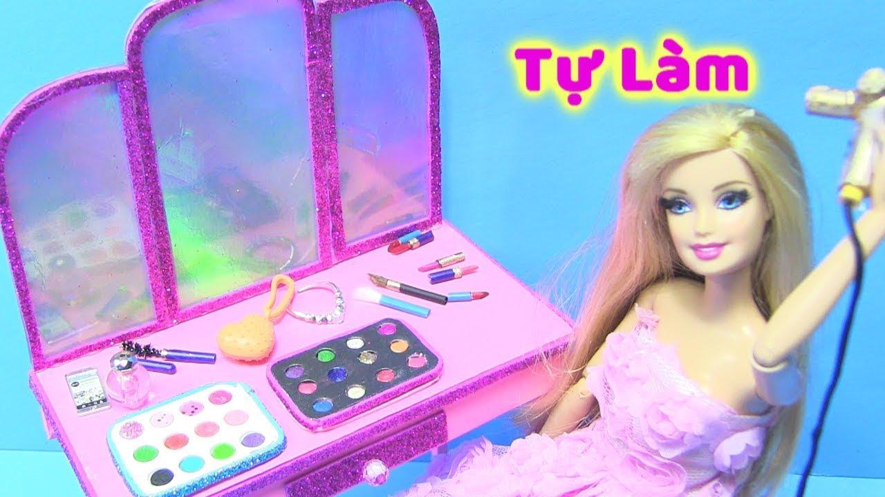 Tự Làm Bàn Trang Điểm Cho Búp Bê Barbie (Màu Mắt, Son, Phấn, Chai Nước Hoa…) dạy làm đồ chơi !