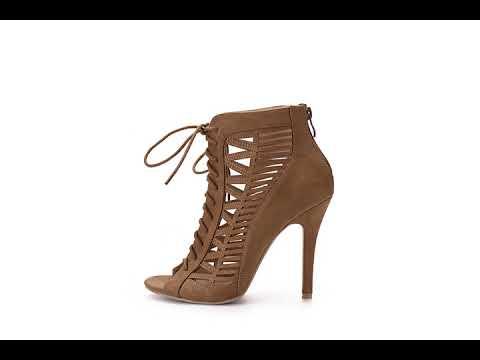 Mila Lady alula Sexy Strappy and Laser Cut Peep- Toe Stiletto Lady Heeled Shoes