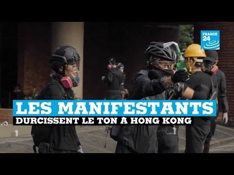 """""""Catapultes, flèches enflammées"""" : A Hong Kong, le mouvement se durcit"""