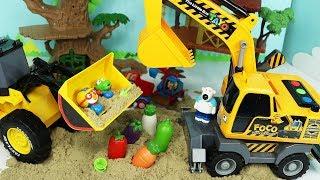 뽀로로 모래놀이 장난감 포크레인 중장비 덤프트럭 자동차 야채씻기 Kinetic Sand Excavator Dump Truck Pororo Toys