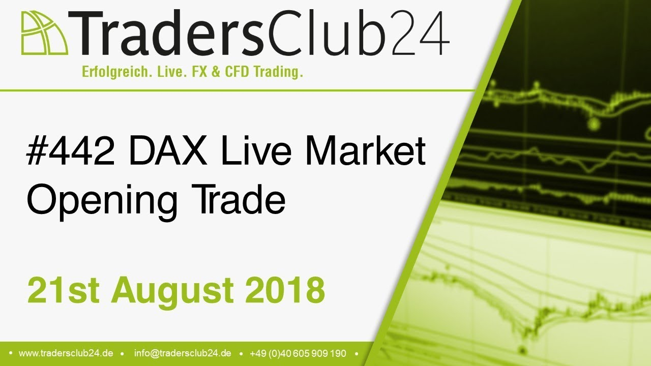 TradersClub24 Dax Open Range Breakout Live Trade 21st August 2018  (Daytrading / Forex / Dax)