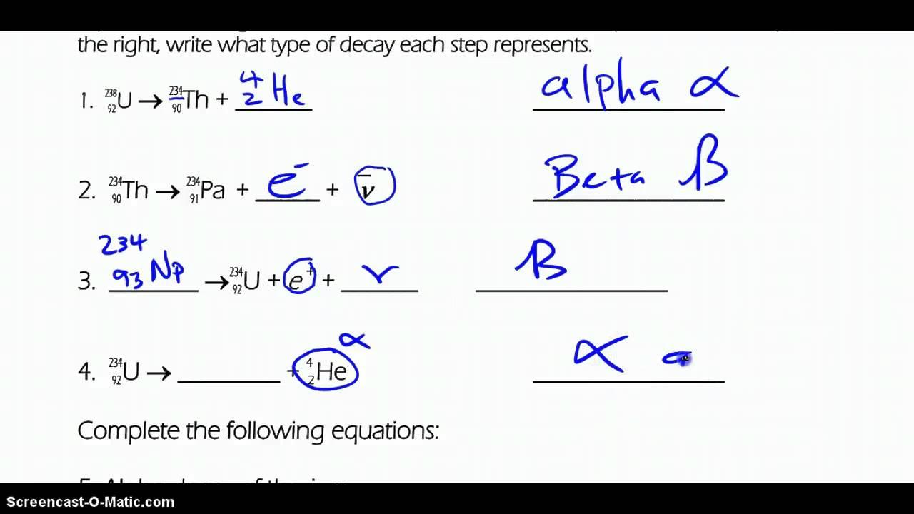Balancing Nuclear Equations Worksheet Free Worksheets ...